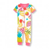 Baby And Toddler Girls Short Sleeve Sweet Fruit Print Snug-Fit Stretchie