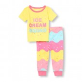 Baby And Toddler Girls Short Sleeve Glow-In-The-Dark Ice Cream Squad Top And Printed Pants Snug-Fit PJ Set