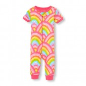 Toddler And Baby Girls Short Sleeve Rainbow Striped Snug-Fit Stretchie