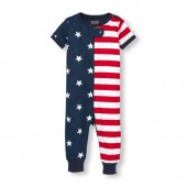 Unisex Baby And Toddler Americana Short Sleeve Snug-Fit Stretchie