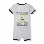 Baby And Toddler Boys Short Sleeve Glow-In-The-Dark Trouble Maker Cropped Stretchie