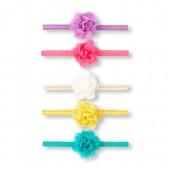 Baby Girls Metallic Flower Headwrap 5-Pack
