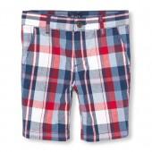 Boys Plaid Woven Shorts