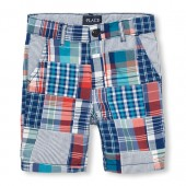 Boys Patched Plaid Woven Shorts