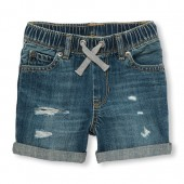 Toddler Boys Pull-On Destructed Denim Shorts