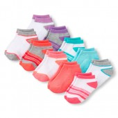 Toddler Girls Striped And Solid Ankle Socks 10-Pack