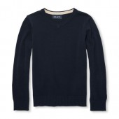 Boys Long Sleeve V-Neck Solid Sweater