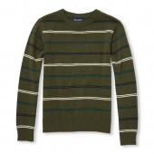 Boys Long Sleeve Striped Crew Sweater