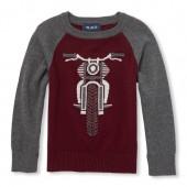Boys Long Raglan Sleeve Motorcycle Graphic Sweater