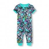 Baby And Toddler Girls Short Sleeve Butterfly Print Snug-Fit Stretchie
