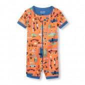 Baby And Toddler Boys Short Sleeve Transportation Print Cropped Stretchie