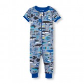 Baby And Toddler Boys Short Sleeve Sea Critters Print Stretchie