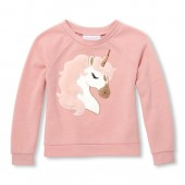Baby And Toddler Girls Active Long Sleeve Faux Fur Graphic Pullover