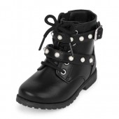 Toddler Girls Lace-Up Faux Pearl Buckle Ginger Boot