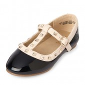 Toddler Girls Studded Faux Patent Leather T-Strap Ballet Flat