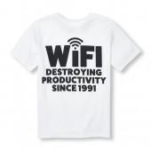 Boys Short Sleeve Wifi Statement Graphic Tee