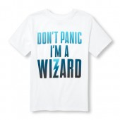 Boys Short Sleeve Dont Panic Im A Wizard Graphic Tee