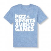 Boys Short Sleeve Pizza Sports And Video Games Graphic Tee
