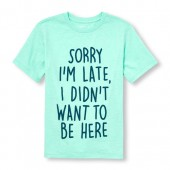 Boys Short Sleeve Sorry Im Late I Didnt Want To Be Here Graphic Tee