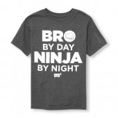 Boys Short Sleeve Glow-In-The-Dark Bro By Day Ninja By Night Graphic Tee