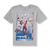 Boys Short Sleeve Any Court Any Time Basketball Graphic Tee
