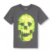 Boys Short Sleeve Pixel Skull Graphic Tee