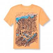 Boys Short Sleeve Surfer Waves Graphic Tee
