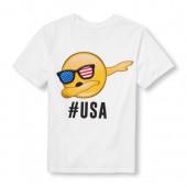 Boys Short Sleeve Hashtag USA Dancing Emoji Graphic Tee