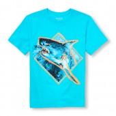 Boys Short Sleeve Shark Diamond Graphic Tee