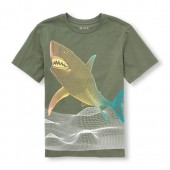 Boys Short Sleeve Digital Shark Graphic Tee
