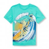 Boys Short Sleeve Surfing Dino Graphic Tee