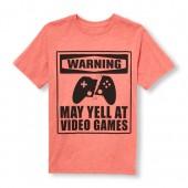 Boys Short Sleeve Warning May Yell At Video Games Graphic Tee