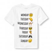 Boys Short Sleeve Days-Of-The-Week Emoji Graphic Tee