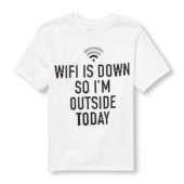 Boys Short Sleeve Pixeled Wi-Fi Is Down So Im Outside Today Graphic Tee