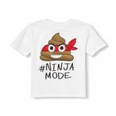 Boys Short Sleeve Hashtag Ninja Mode Emoji Graphic Tee