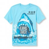 Boys Short Sleeve Player 1 Game Over Pixel Shark Graphic Tee