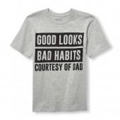 Boys Short Sleeve Good Looks Bad Habits Courtesy Of Dad Graphic Tee
