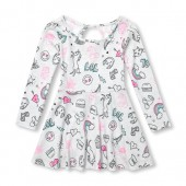 Baby And Toddler Girls Long Sleeve Doodle Print Keyhole Knit Dress