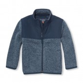 Toddler Boys Marled Sweater Trail Jacket
