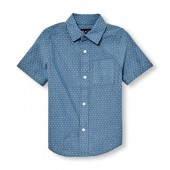 Boys Short Sleeve Printed Chambray Poplin Button-Down Shirt