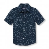 Boys Short Sleeve Paper Clip Print Poplin Button-Down Shirt