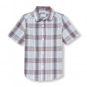 Toddler Boys Short Sleeve Plaid Poplin Button-Down Shirt