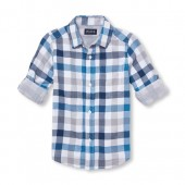 Boys Long Roll-Up Sleeve Plaid Double Weave Button-Down Shirt