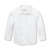 Baby And Toddler Boys Long Sleeve Triangle Print Poplin Button-Down Shirt