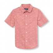 Boys Short Sleeve Triangle Print Poplin Button-Down Shirt