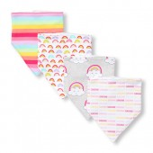 Baby Girls Rainbow Stripe Bandana Bib 4-Pack
