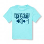 Toddler Boys Short Sleeve I Have Two Volumes Loud And Asleep Graphic Top