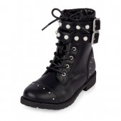 Girls Lace-Up Faux Pearl Buckle Boots
