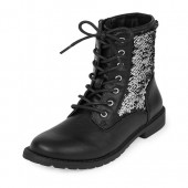 Girls Rose Gold Flip Sequin Lace-Up Kacey Boot