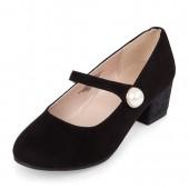 Girls Velvet Glitter Annie Mini Heel